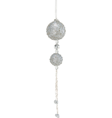 BEADED BALL DROP - SILVER Silver