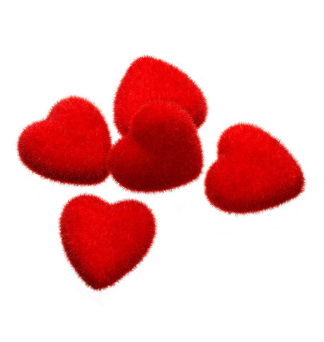 FLOCKED HEARTS Red