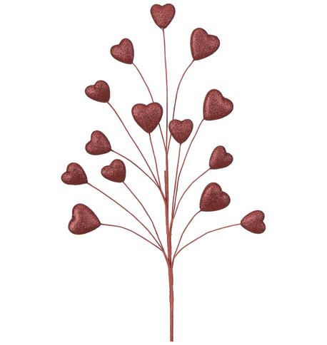 GLITTERED HEART SPRAY  Red