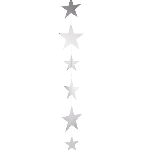 METALLIC CARD STAR GARLANDS - SILVER Silver
