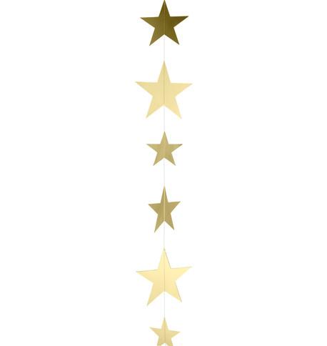 METALLIC CARD STAR GARLANDS - GOLD Gold