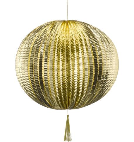 METALLIC PAPER BALL LANTERNS - LARGE - GOLD Gold