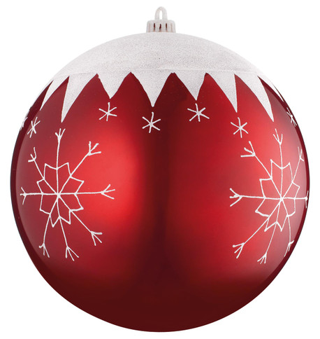 BAUBLE WITH SNOWFLAKES - 250mm Red And White