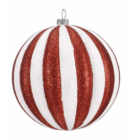 BAUBLE - GLITTER STRIPES Red And White