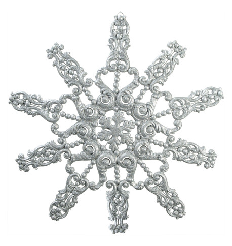 GIANT FLOCKED GLITTER SNOWFLAKE - SILVER Silver