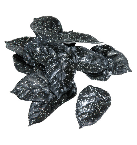 GLITTERED BLACK LEAVES Black