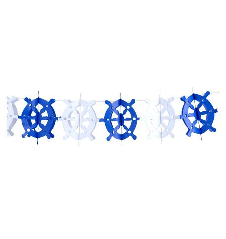PAPER SHIPS WHEEL GARLAND Blue and White