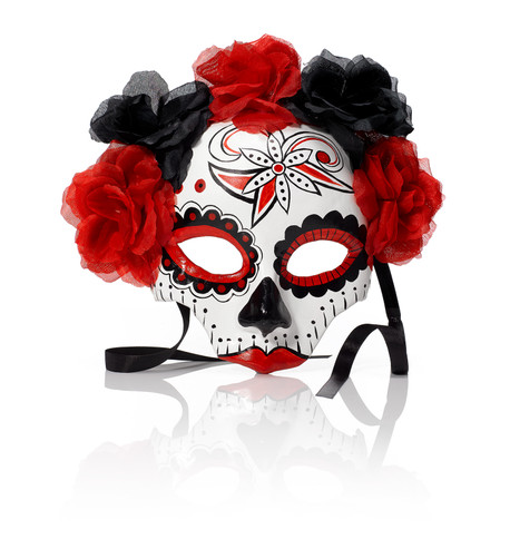 PAINTED SKULL HALF MASK Red