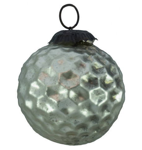 INDIAN GLASS CRATER BAUBLE Pewter
