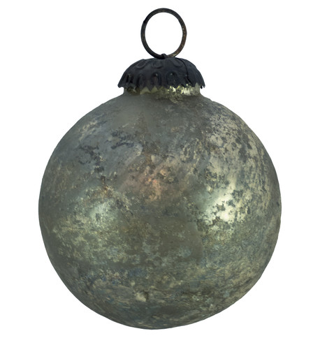 PEWTER DISTRESSED GLASS BAUBLES Pewter