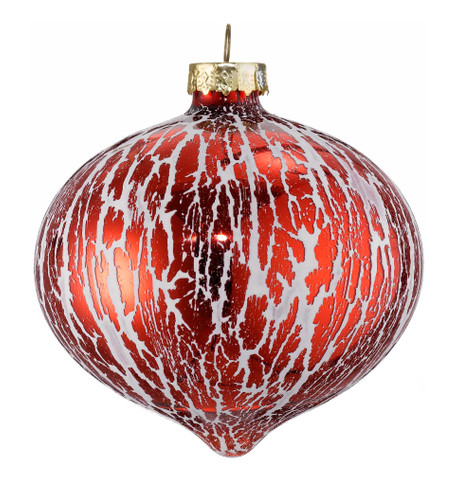 OIL EFFECT GLAZE GLASS ONION BAUBLES - RED Red