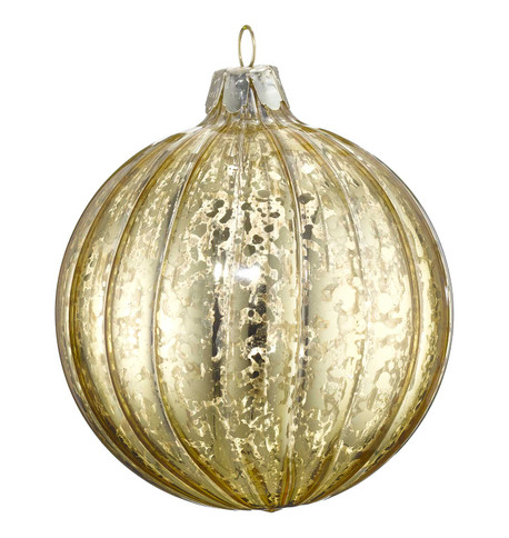 GOLD MERCURY GLASS BAUBLES Gold