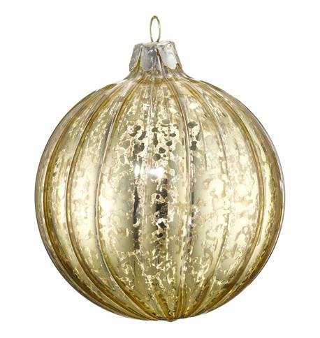 MERCURY EFFECT GLASS BAUBLES - GOLD Gold