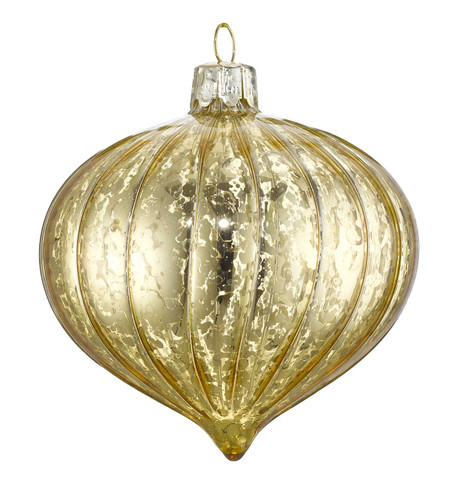 MERCURY EFFECT GLASS ONION BAUBLES - GOLD Gold