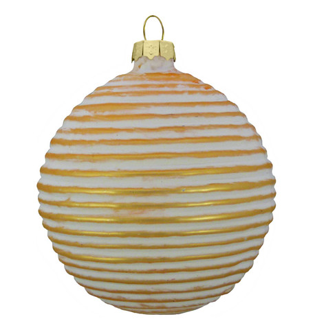 GOLD RIBBED GLASS BAUBLE Gold