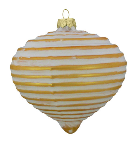 GLASS BRUSH OFF RIBBED ONION BAUBLES - GOLD Gold