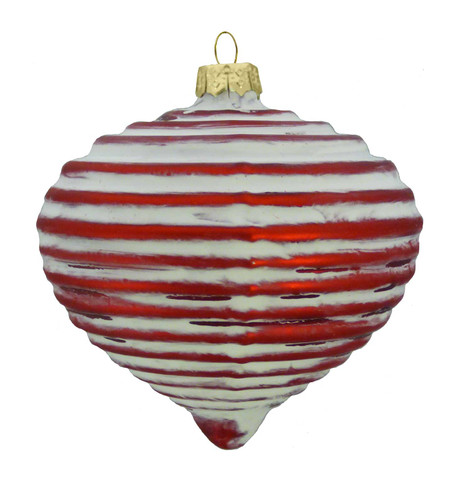 RED GLASS RIBBED ONION Red