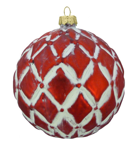 RED GLASS DIAMOND BAUBLE Red