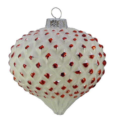 GLASS BRUSH OFF TIPPED ONION BAUBLES - RED Red