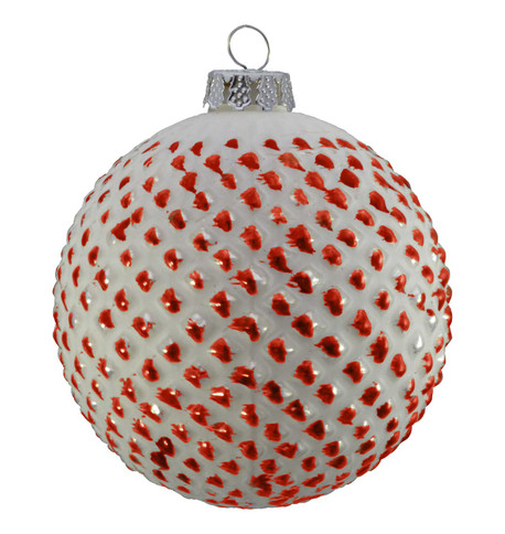 GLASS BRUSH OFF TIPPED BAUBLES - RED Red