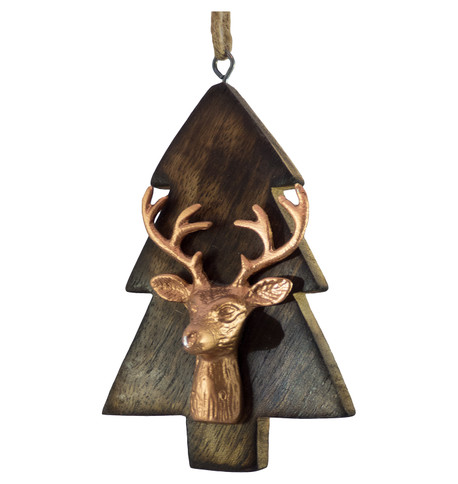 WOODEN TREE WITH DEER HEAD - COPPER Copper