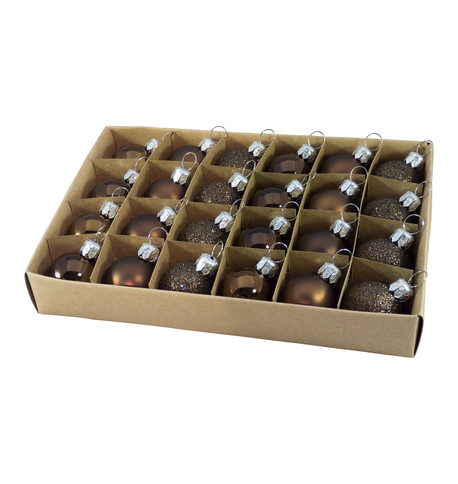 30mm BOXED BAUBLES - BROWN Brown