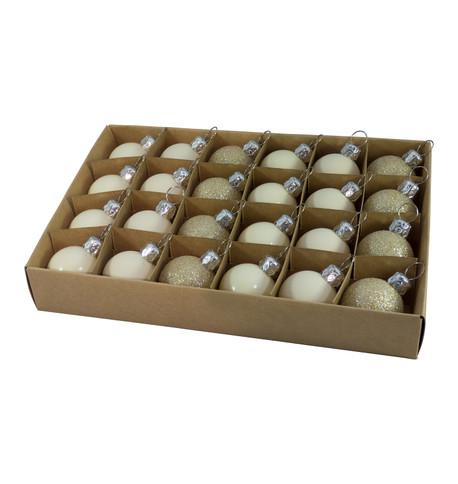 30mm BOXED BAUBLES - CREAM Cream