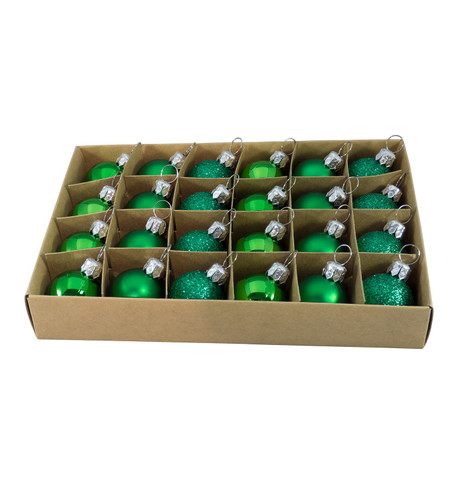 30mm BOXED BAUBLES - GREEN Green