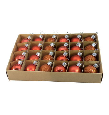 30mm BOXED BAUBLES - ORANGE Orange