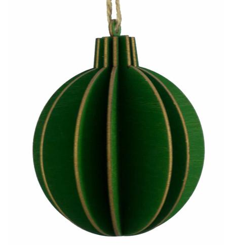 WOODEN BALL DECORATION - GREEN Green