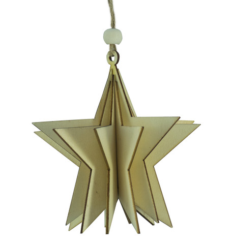 WOODEN STAR DECORATION - NATURAL Natural
