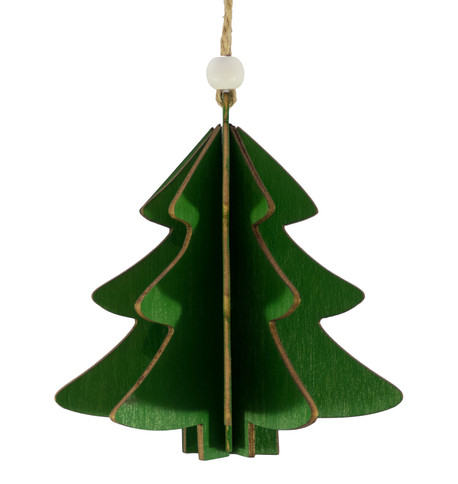 WOODEN TREE DECORATION - GREEN Green