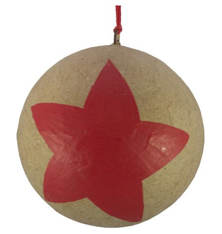 KRAFT BAUBLES - LARGE RED STAR Red