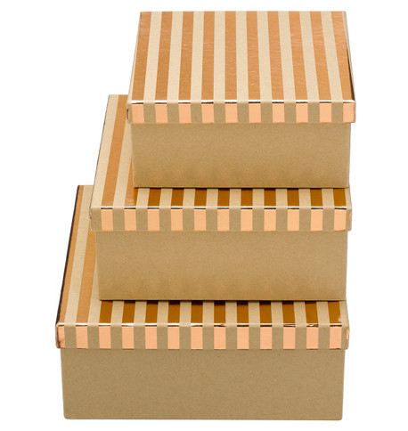 SQUARE KRAFT BOXES - COPPER STRIPES Copper
