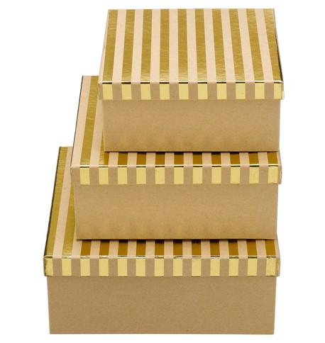 SQUARE KRAFT BOXES - GOLD STRIPES Gold