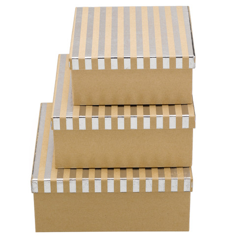 SQUARE KRAFT BOXES - SILVER STRIPES Silver