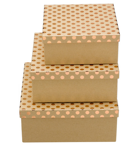 SQUARE KRAFT BOXES - COPPER SPOTS Copper
