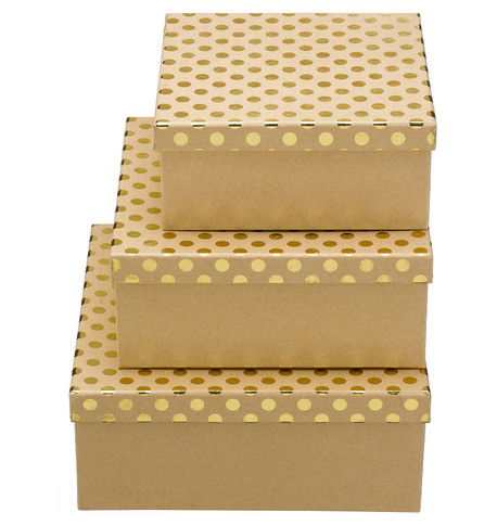 SQUARE KRAFT BOXES - GOLD SPOTS Gold