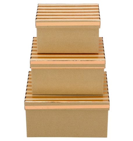 RECTANGULAR KRAFT BOXES - COPPER STRIPES Copper