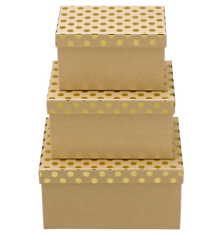 RECTANGULAR KRAFT BOXES - GOLD SPOTS Gold