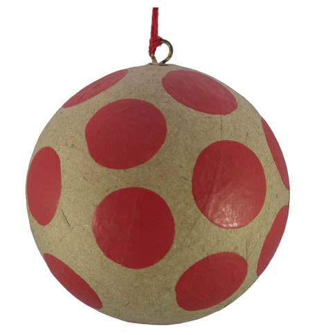 KRAFT BAUBLES - RED dots Red
