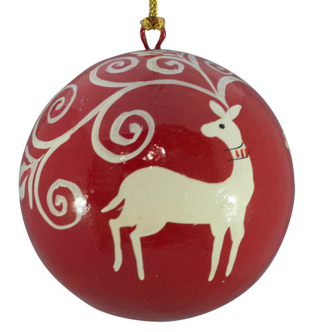 RED & WHITE BAUBLES - Deer Red And White