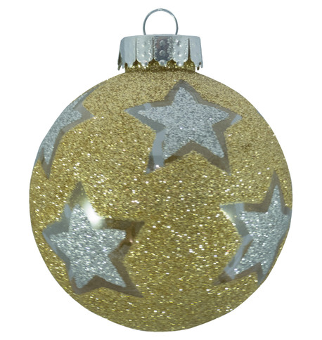STAR GLITTER PATTERN BAUBLES - GOLD Gold