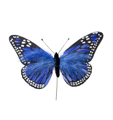 LARGE FEATHER BUTTERFLIES - BLUE Blue