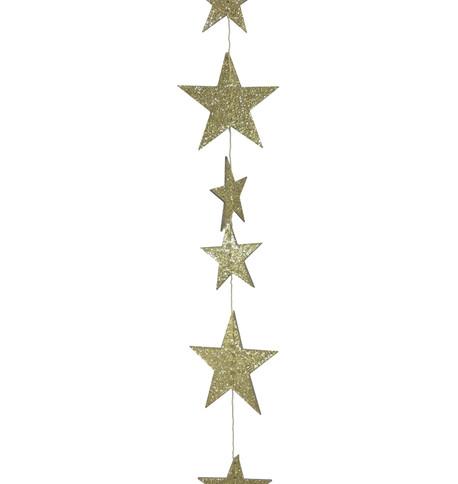 GLITTER STAR GARLAND - GOLD Gold