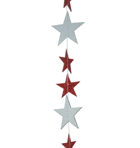 GLITTER STAR GARLAND - RED & WHITE Red And White