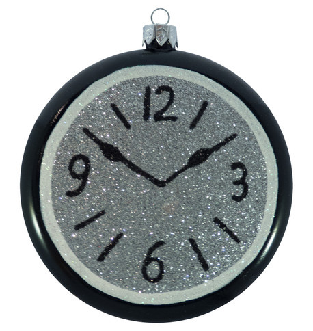GLITTERED CLOCKS - SILVER Silver