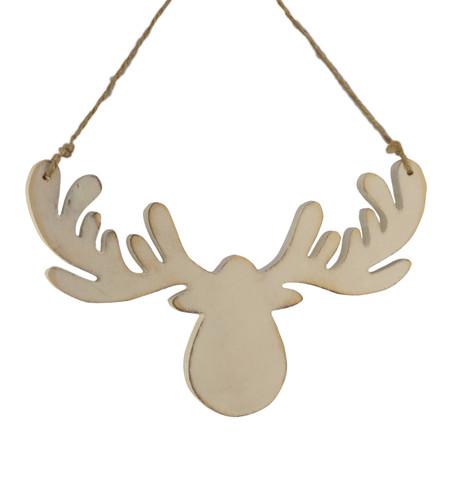 Wooden moose head silhouette White