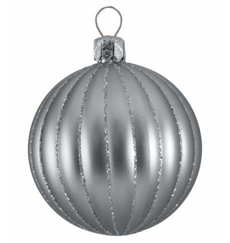 RIBBED BAUBLES - silver matt Silver