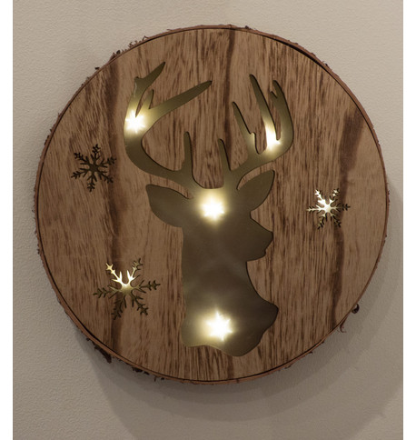 DEER HEAD LED WALL plaque Natural
